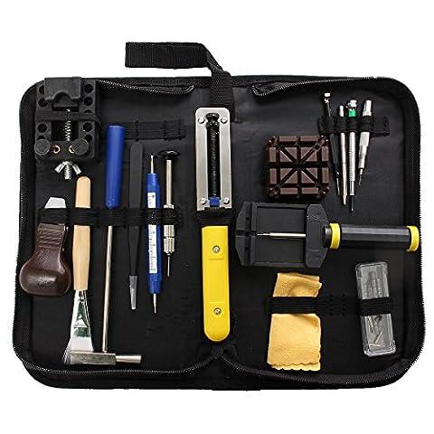 29pcs Kit d'outils de réparation pour montre Outil Professionnel de barre à ressort Lot de, bracelet de montre Lien broches Outil Ensemble avec housse de transport