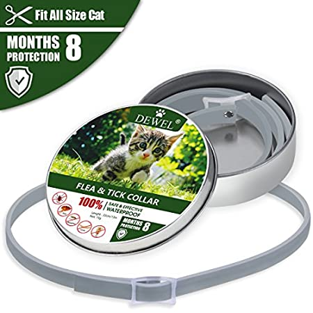 DEWEL Zeckenhalsband, Zecken Halsband mit 8 Monate Kontrolle Schutz f¨¹r Hunde Katzen, Verstellbar Gr??e und Wasserfest…