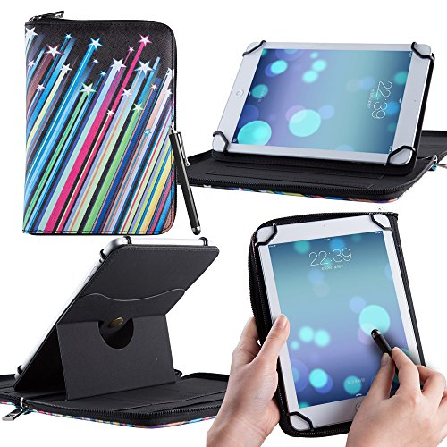 Casezilla Hartschalen Universelle 360 Grad umschließende PU-Lederhülle für Amazon Kindle Fire Hd 7 - Sternschnuppen-Streifen Stripes (Kids Fire Hd 7 Screen Protector)