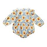 WFRAU Baby Strampler Mädchen Lange Ärmel Sonnenblumen Drucken Streifen Kurz Overalls Schlafanzug Säugling Spielanzug Baby-Nachtwäsche Hosen Tops Jumpsuit Outfit Bodysuit
