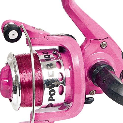 Fladen Power 4-15(1BB) Frontbremse fixierter Spule Spinning Reel (erhältlich in blau, schwarz oder pink)-tolle Junior Starter Spule 2,7kg (mit Line auf) Rosa rose -