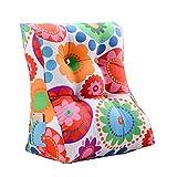 Nursing Nackenstütze mit großer Rückenlehne, dreieckige Sofakissen, Bett Pflanze Blumenmuster weiche Tasche, Office-Taillenkissen abnehmbar und waschbar ( Farbe : H , größe : 60*30*55CM )