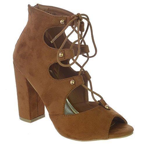 NUOVO da donna BLOCCO tacco alto zip punta aperta con lacci BORCHIA Cut Out Stivali alla caviglia taglia Marrone Chiaro Camoscio Sintetico