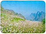 Zerbini Tappeti da bagno Tappetino per porte per interni / esterni Campo di fiori di grano saraceno a Ha Giang Viet NAM è famoso per Dong Van Carso Altopiano Tappeto da bagno globale geologico Decor t