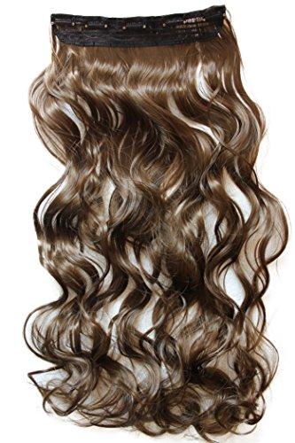 PRETTYSHOP 70cm oder 55cm Clip In Extensions Halbperücke Haarverlängerung Haarverdichtung Haarteil hitzebeständig wie Echthaar div. Farben (braun #9 (Zopf Zopf In)