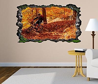3D Wandtattoo Fahrrad Mountainbike Sport Herbst Bild selbstklebend Wandbild sticker Wohnzimmer Wand Aufkleber 11G660
