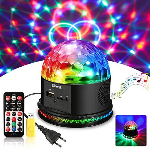 LED Discokugel,SOLMORE USB Musik abspielen Magic Discokugel Discolampe Partylicht Discolicht Projektor Lichteffekte Discobeleuchtung Partybeleuchtung mit Fernbedienung