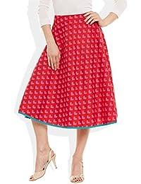 4982666079 Very Me Women's Designer Pink Pure Cotton Printed Medium Length Skirt