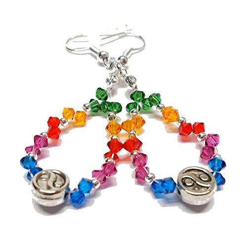 Ohrhänger Regenbogen Yin Yang - Tropfenform - 2-reihig - Swarovski® Kristalle - Creolen Regenbogen - Ohrhänger versilbert