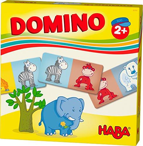 HABA 303763 - HABA-Lieblingsspiele – Domino Zootiere | Dominospiel mit 15 Dominosteinen aus Pappe | Bunte Tiermotive zum Benennen und Kombinieren | Spielzeug ab 2 Jahren