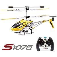 Syma S107G 3CH RC Radio Mini Alloy Remote Control Helicóptero with Gyro Genuine Amarillo