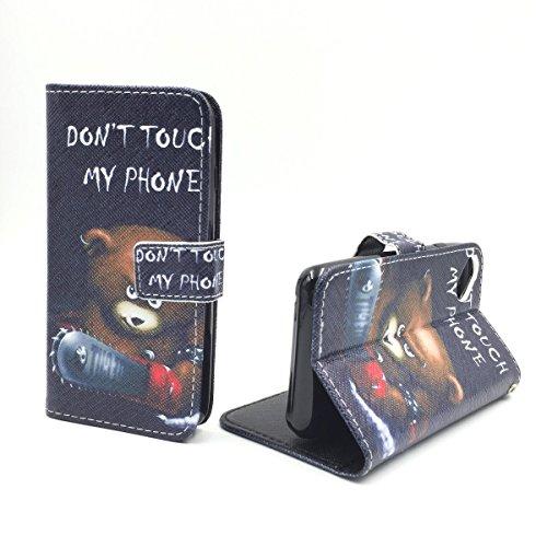 König-Shop Handy-Hülle für Wiko Sunset 2 Klapp-Hülle aus Kunst-Leder | Inklusive Panzer Schutz Glas 9H | Sturzsichere Flip-Case in Schwarz | Im Don't Touch My Phone Teddybär Motiv