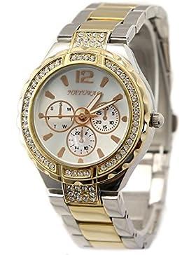 NATURAL Runde PNP glänzend Silber Uhrengehäuse Wasser Resist Frauen Mode Uhr