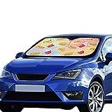 Auto Windschutzscheibe Sonnenschutz Mädchen Fast Food Hamburg Pizza Fries Zeichnung Faltbarer Sonnenschutz Für maximalen UV- und Sonnenschutz Halten Sie Ihr Fahrzeug kühl 140 x 75 cm (55 x 30 Zoll) C