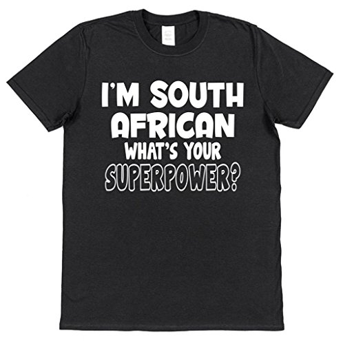 I'm South African What's Your Superpower? Men's Black Cotton T-Shirt