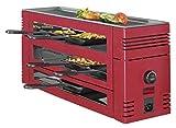 Spring 3367710003–Pizza-Raclette mit 6Pfännchen und Grilloberfläche aus Aluminium Rot (H....