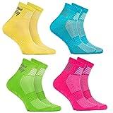 4 Paar ABS Sportliche ANTI-RUTSCH-Socken für KINDER – Atmende BAUMWOLLE – Glatter Fußboden, Trampoline, Gymnastik, Yoga, Kampfsport, Tanzen - Gelb Türkis Grün Rosa Pack| Größen: EU 24-29,