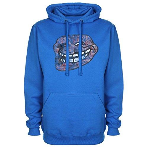 Troll Face Meme Geek Gaming fiori swag-Felpa con cappuccio blu medium