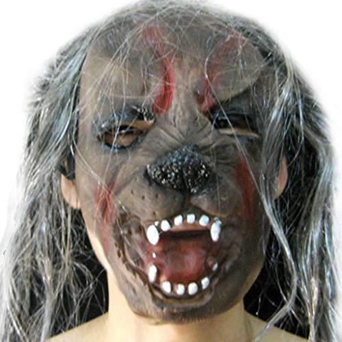 Halloween Weihnachten Maskerade Maske Party Grimasse Silikon Simulation Maske Horror Lange Haare Maske Masken (Color : Gray, Size : 18 * 21CM/7 * 8inch)