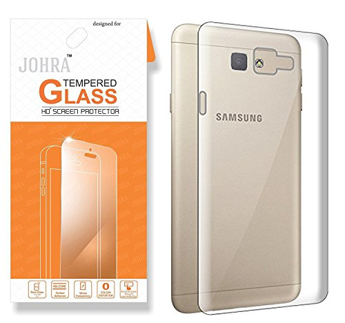 Samsung C9 Pro Transparent Back Cover, Johra Premium HD+ Tempered Glass Screen...