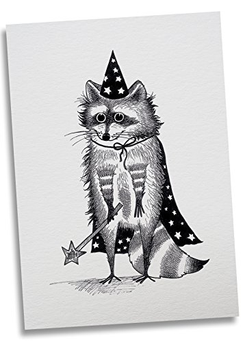 Ligarti Postkarte Zaubär - Premium Bambus Papier 350g - 100% Handmade in Deutschland - Waschbär Bär Zauberer Zauberstab, Postkarte, Grußkarte, Geschenkkarte, Einladung