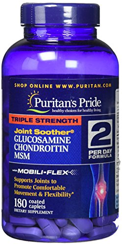 Puritan's Pride Triple Strength Glucosamine, Chondroitin & MSM Joint Soother 180 Caplets