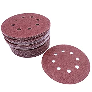 Maveek 50 Pieces 8-Holes Discs Pads 5 inch/ 125 mm Hook and Loop Sandpaper Sanding Discs Pads, 5 models, each model 10 pieces, 40/ 60/ 80/ 100/ 120 Assorted Grits