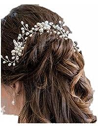 Mujer cabello joyas accesorios pelo flores Adorno para cabello pelo agujas perlas  boda brillantes Tiara Cristal e4df10598ff3