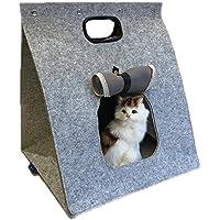 YGJT Cama de Gato Transportín para Animales Domésticos Fieltro de Lana Plegable Fácil para Llevar con Asa Color Marrón/Gris 48x40x40cm