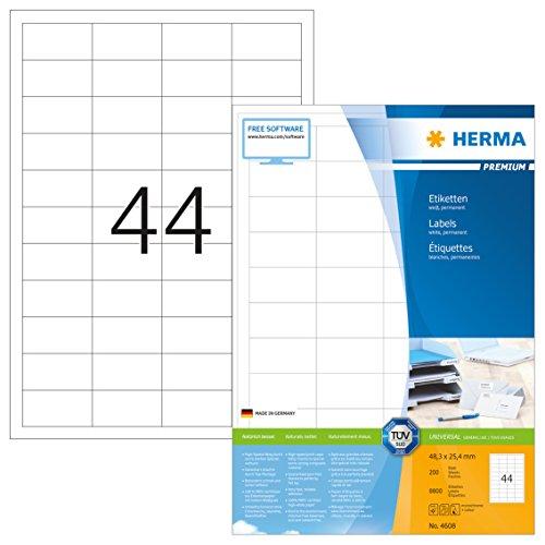 Herma 4608 Universal Etiketten (48,3 x 25,4 mm) weiß, 8.800 Aufkleber, 200 Blatt DIN A4 Premium Papier matt, bedruckbar, selbstklebend