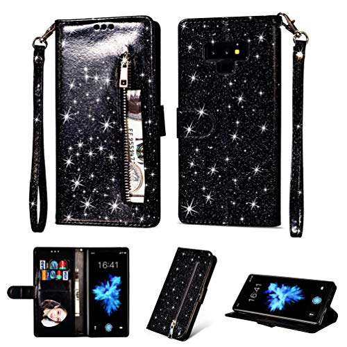 Coque Samsung Galaxy Note 9, Housse en Cuir LaVibe PU Leather Etui Portefeuille à Rabat Glitter Clapet Support Fermeture éclair Porte Video Stand, Flip Wallet Protective Case Cover–Noir