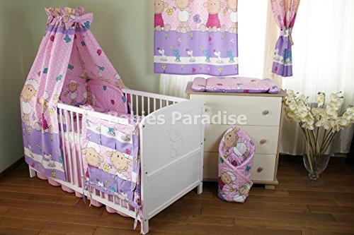 Baby Bettwäsche Set (Schäfchen) (9 tlg, Rosa)