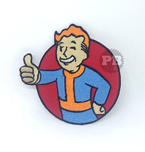 Embrologos Bestickter Aufnäher - 'Fallout'-Motiv: Vault-Boy mit Daumen-Hoch-Symbol - zum Aufbügeln (Vault Jacke Fallout)