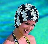Fashy - Badehaube aus Gummi, Blüten Schwarz/Weiß