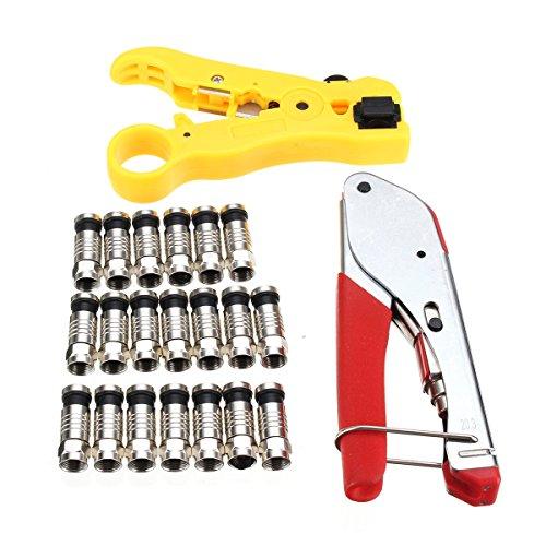 Wchaoen F-Head-Kompressionswerkzeug mit Abisolierzange und Crimper-Zange mit 20 schwarzen Anschlüssen Werkzeugzubehör