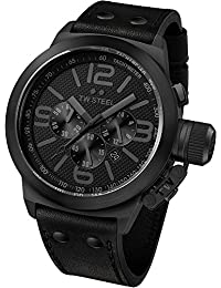 TW Steel Unisex-Armbanduhr Chronograph Leder Schwarz TW843