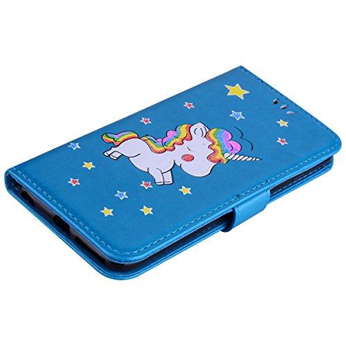 iPhone 6 Plus Hülle , iPhone 6S Plus Handyhülle , PU Leder Tasche Bling Einhorn-Muster Entwurf Etui Stil Schutz Flip Bookstyle Case Bumper für Magnetverschluss Lederhülle mit Stand Funktion und Brieft Blau