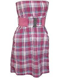 Freshmade Sommer Bandeau Kleid + Gürtel Minikleid Strandkleid trägerlos lila, Lila, M