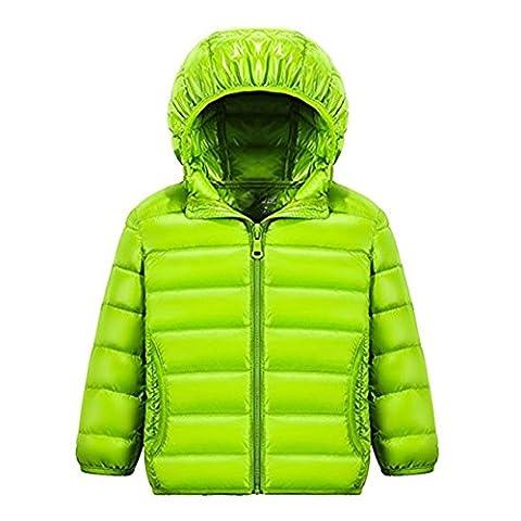 Tailloday Kinder Unisex Kids Daunenjacke Steppjacke mit Kapuze Jacket Übergangsjacke Herbst Winter (EU 146/152 (Etikett 150), Grün)