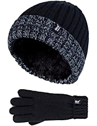 HEAT HOLDERS Kinder Jungen Junge Winter Thermische Bommel Winterm/ütze M/ütze und Fausthandschuhe Set mit Ohrenklappen
