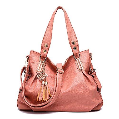 koson-man-damen-quasten-sling-tote-taschen-schultertasche-top-griff-handtasche-rose-pink-kmukhb219