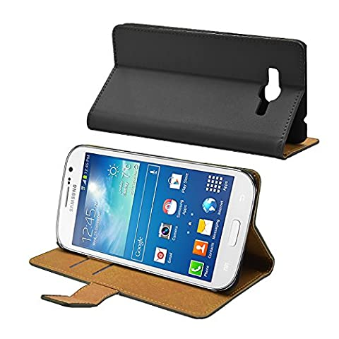 Membrane - Noir Portefeuille Etui Coque Samsung Galaxy Grand Neo (GT-i9060, GT-i9060DS, GT-i9060L) - Wallet Flip Case Cover Housse