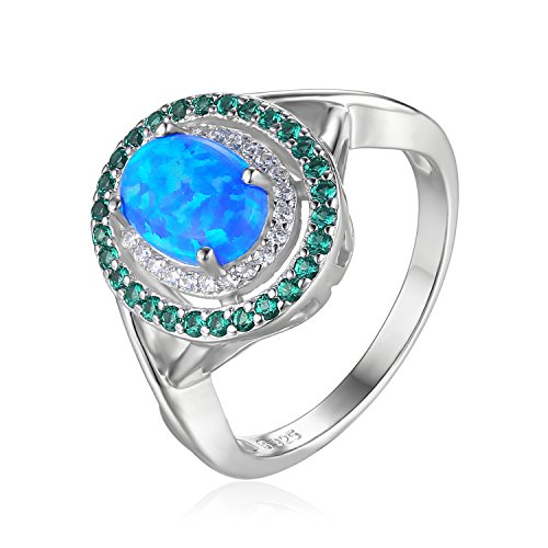 ct Oval Synthetisch Opal Runde Simulierte Nano russischen Smaragd Cocktail Ring 925 Sterling Silber ()