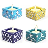 Decorative Diyas Indian Art Home And Office Décor Blue Art Pottery Multicolor Cube Shape 4 Ceramic Tea Light Candles Set /Multi Occasional Special Festival Gift Set - Handmade & Hand Decorative Tea Light Candles Pooja Diyas Authentic Art Work &