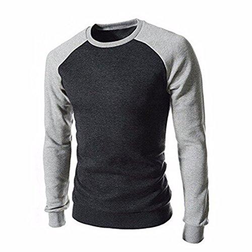 Men's Slim Fit Patchwork Suit High Quality Casual Sweatshirts Grey