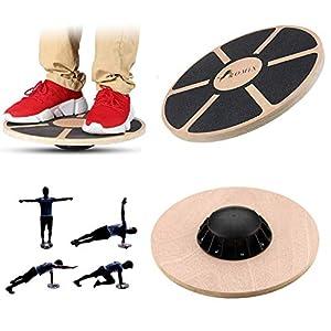 ROMIX Premium Balance Board Holz, Wackel Balancebrett, Durchmesser 40 cm, Physiotherapie Fitnessgerate Trainings rutschfest Rund Körperübungs Gymnastik Sport Leistungssteigerung Rehabilitation