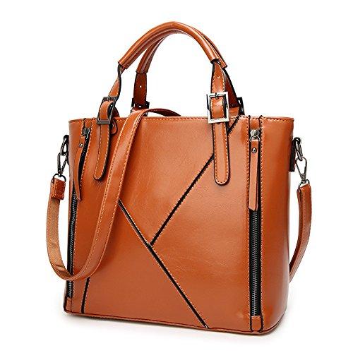 Mefly La Nuova Europa Borsetta Tracolla Borsa Messenger In Pelle Cera Fashion Bag Blu Navy brown