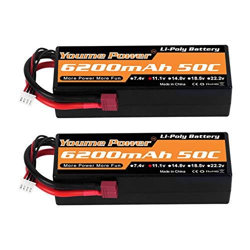 Youme Power 11,1 V Lipo Batterie, 3 S Lipo Batterie 6200 mah 50C Hard Case Deans T Stecker für Traxxas RC Auto / LKW / Buggy, RC Boot, Flugzeug, UAV, Drohne (2 Packs)