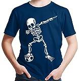 HARIZ  Jungen T-Shirt Dab Skelett mit Fussball Dab Teenager Dance Weihnachten Plus Geschenkkarten Navy Blau 164/14-15 Jahre