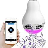 MICTUNING Lampada Bulbo Smart LED Bluetooth Lampadina Cambia Colore Colorato Altoparlante Sonare Musica E27 Controllo via Smartphone Cellulari e IR Remoto